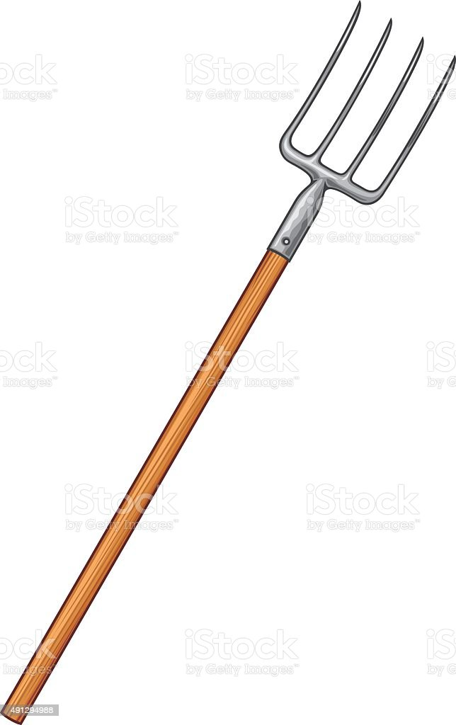 pitchfork tool vector art illustration