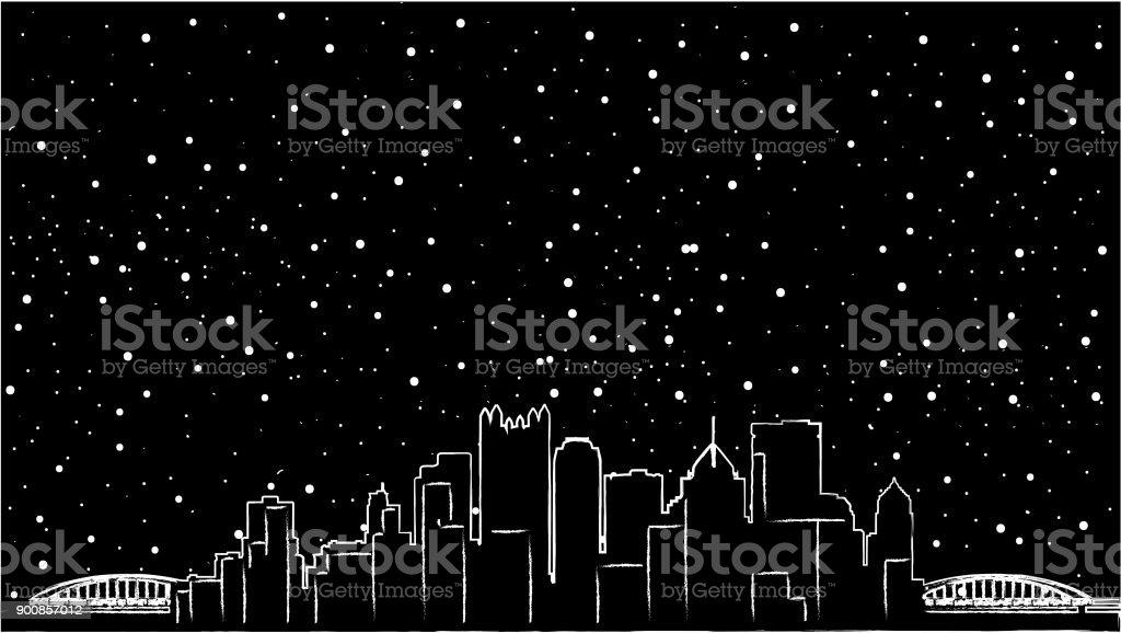 Pittsburgh, Pennsylvania skyline USA. Detailed vector silhouette, flat design, beautiful shadow, two bridges, black colour, mirror view, re-sizable, customizable, eps 10 vector art illustration
