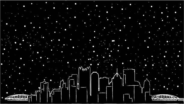Pittsburgh, Pennsylvania skyline USA. Detailed vector silhouette, flat design, beautiful shadow, two bridges, black colour, mirror view, re-sizable, customizable, eps 10 Black and white cityscape illustration in winter season - great american city lakeshore stock illustrations