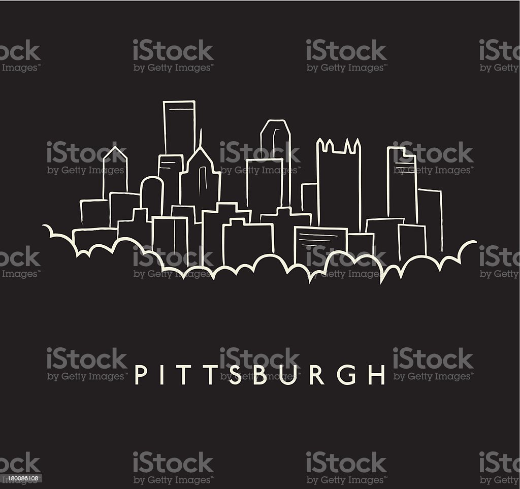 Pittsburgh Skyline Sketch royalty-free stock vector art