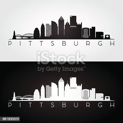 istock Pittsburgh USA skyline and landmarks silhouette 661930520