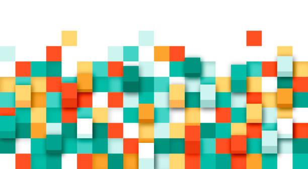 pixel 3d abstrakte grenze - mosaikböden stock-grafiken, -clipart, -cartoons und -symbole