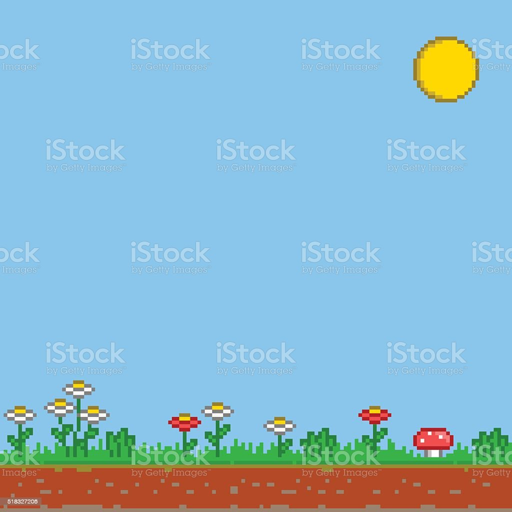 Pixel 8 bit game background. Vector sunny day. vector art illustration
