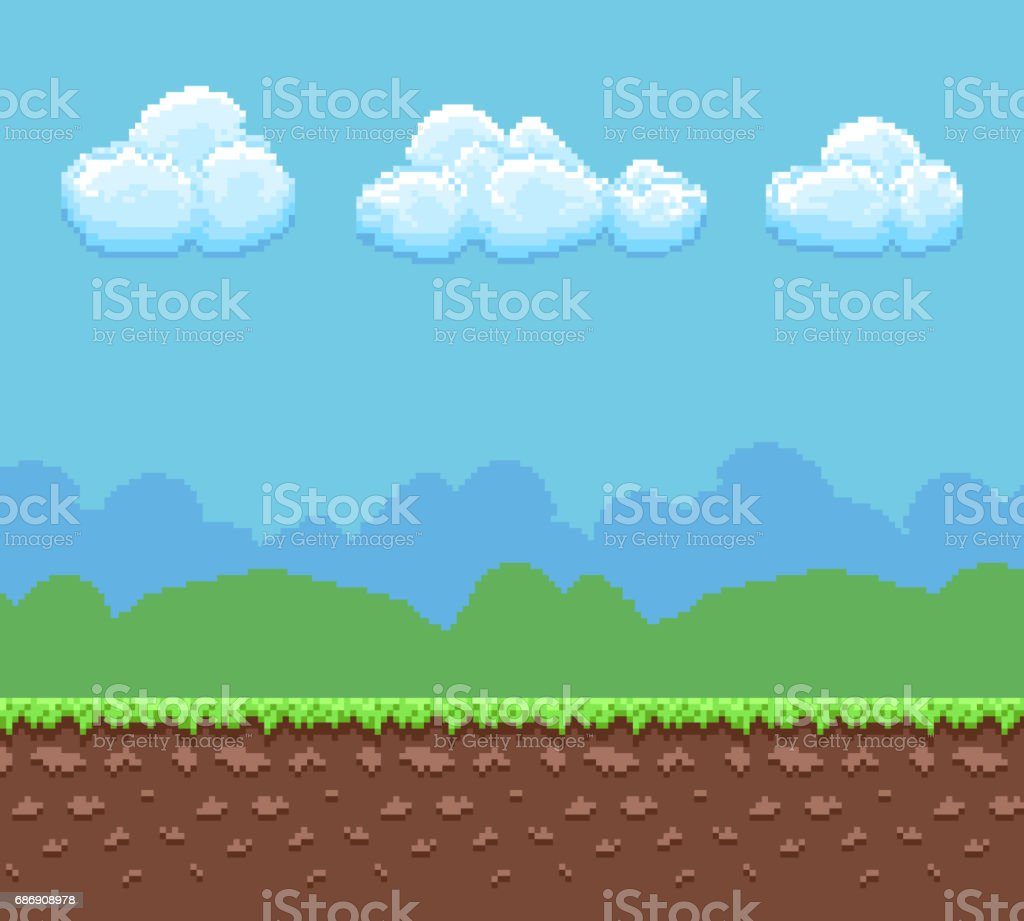 Pixel 8bit game vector background with ground and cloudy sky panorama vector art illustration