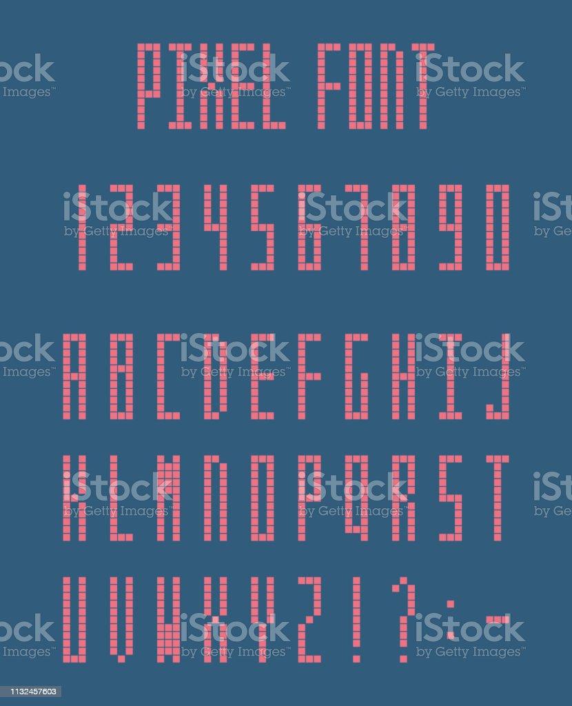 Pixel Alphabet Letters And Number Set Pixeled Font Stock