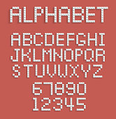 Pixel alphabet of numbers and letters. Illustration