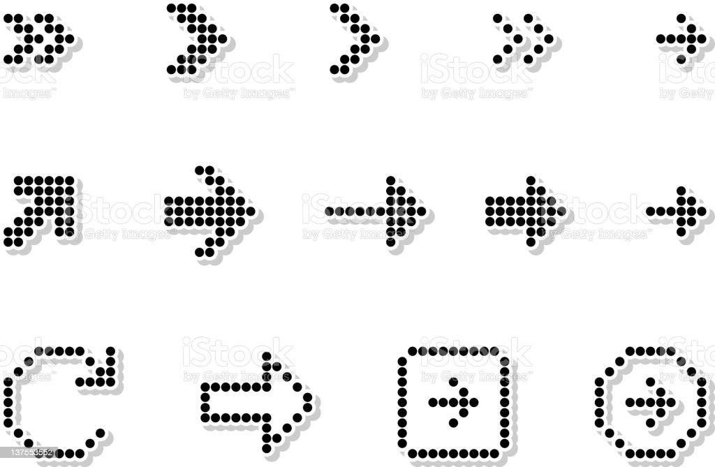 Souvent Pixel Flèches Ensemble Dicônes Vectorielles Libres De Droits Stock  RN86