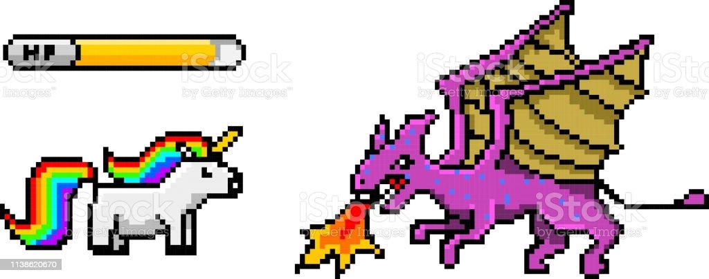 Pixel Art 8 Bits Objets Dinosaure Poney Arc En Ciel Licorne