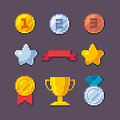Pixel art 8 bit vector awards trophy set.