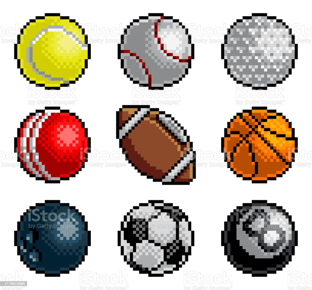 Pixel Art 8 Bit Video Arcade Jeu Sport Ball Icônes Vecteurs