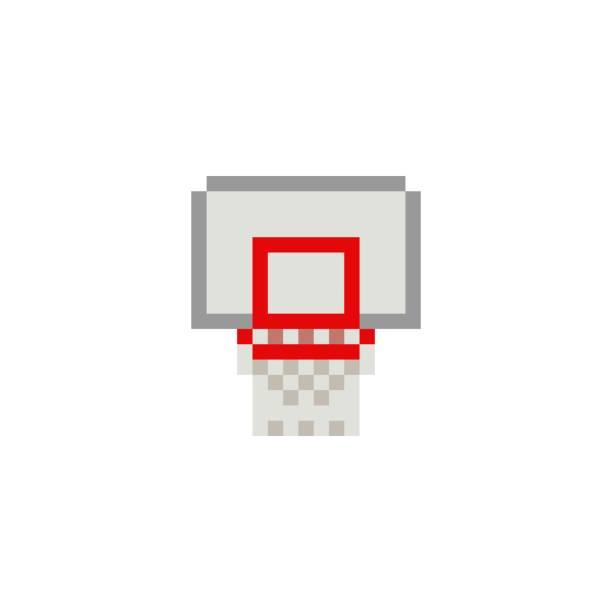 stockillustraties, clipart, cartoons en iconen met pixel art 8-bit basketbal ring op witte achtergrond - geïsoleerde vector illustratie - board game outside