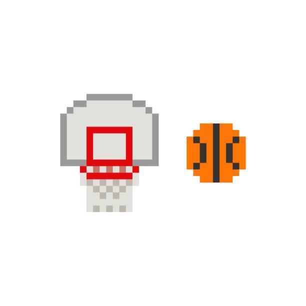 stockillustraties, clipart, cartoons en iconen met de kunst 8-beetje basketbalring van de pixel met bal op witte achtergrond - geïsoleerde vectorillustratie - board game outside