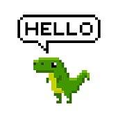 istock Pixel art 8-bit cartoon dinosaur saying hello 1169925578