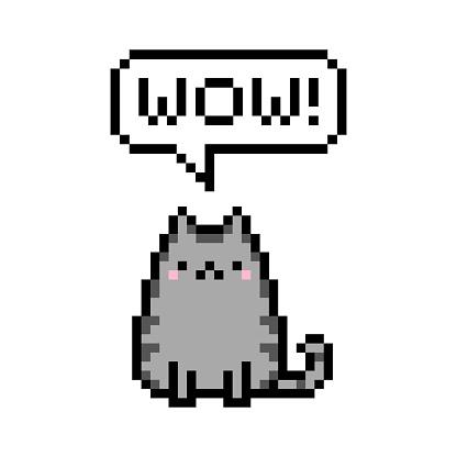 Pixel art 8-bit cute kitten domestic pet pixel saying wow - isolated vector illustration