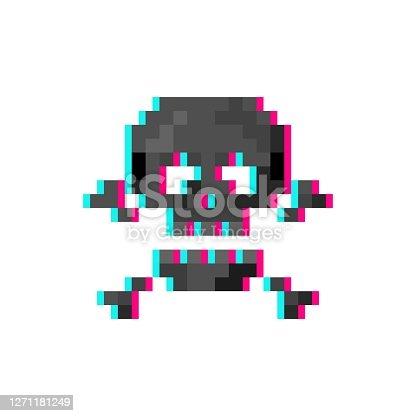 isolated vector illustration Pixel art 8-bit glitch skull with crossbones