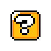 istock Pixel art 8-bit Question mark gold box - isolated vector illustration 1271182194