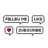 istock Pixel art 8-bit retro game style speech bubbles set with text. Follow me, like, heart, subscribe - isolated vector illustration 1201185652