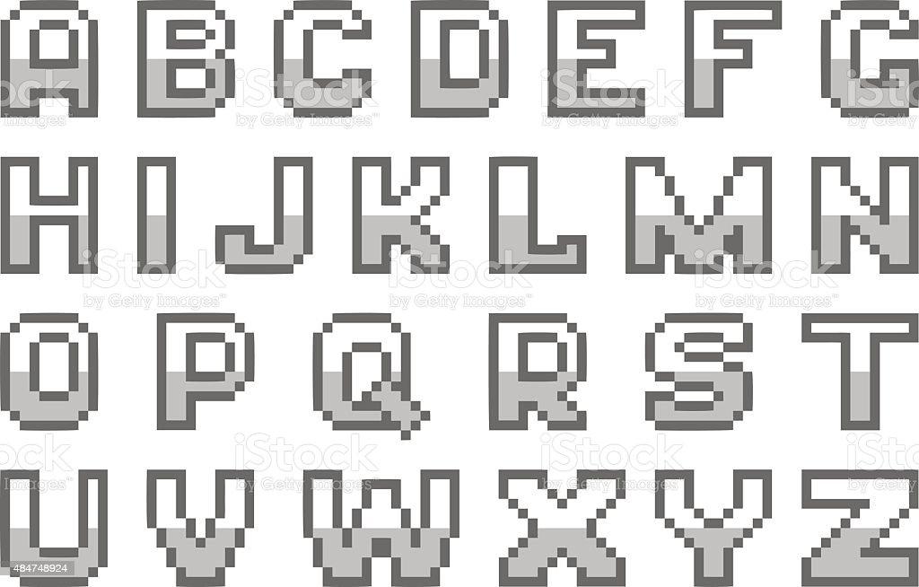 Alphabet De Pixel Art Vecteurs Libres De Droits Et Plus D