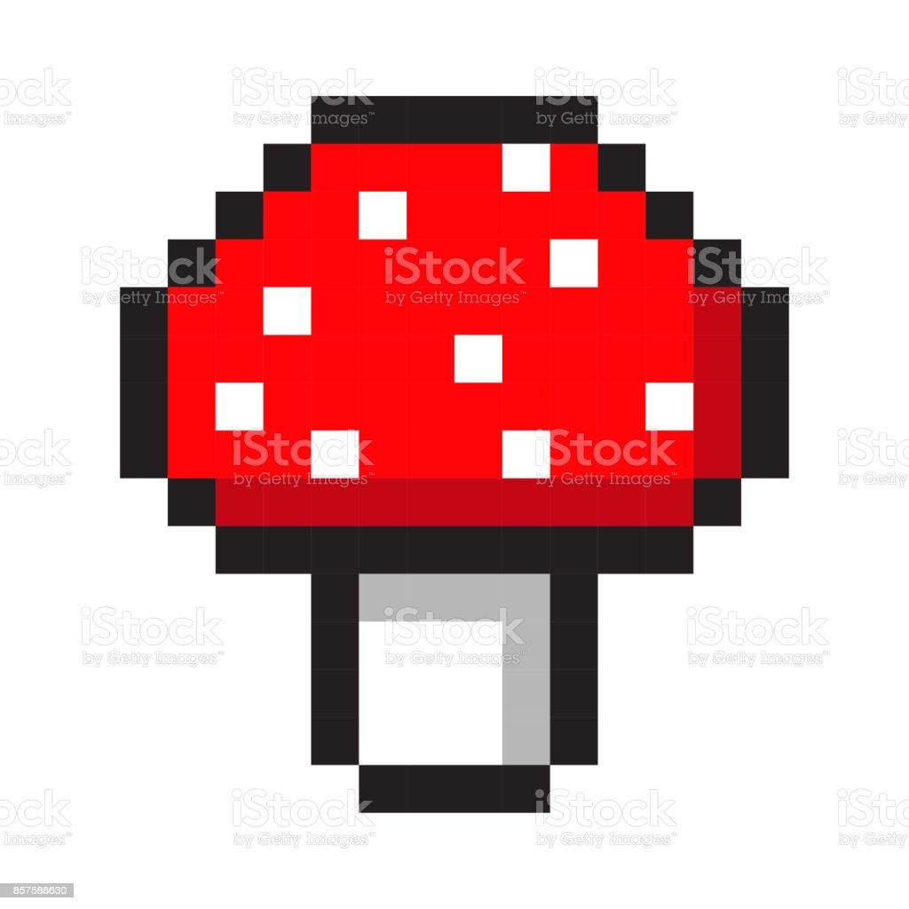 Pixel Art Amanita Mushroom Cartoon Retro Game Style Set