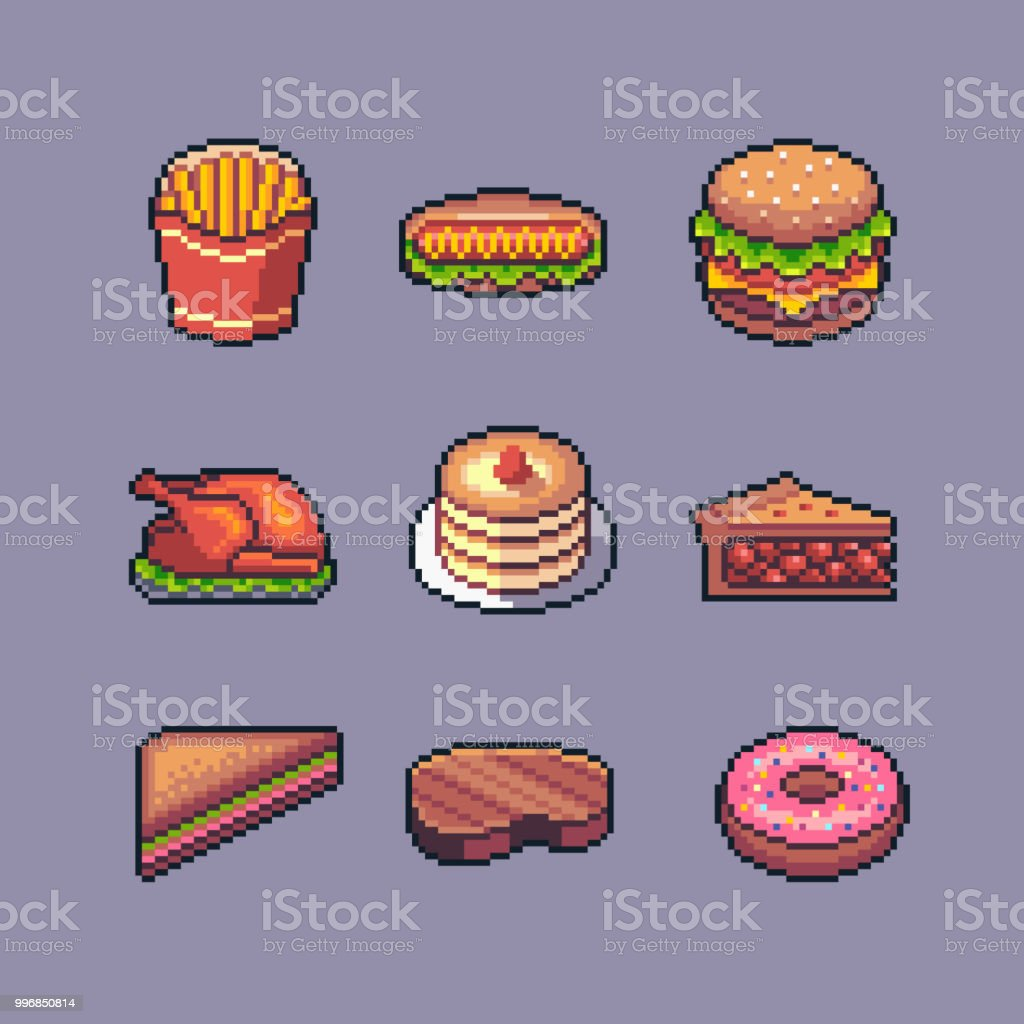 Pixel Art American Popular Street Food Vector Set Stock