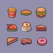 Pixel art american popular street food vector set.