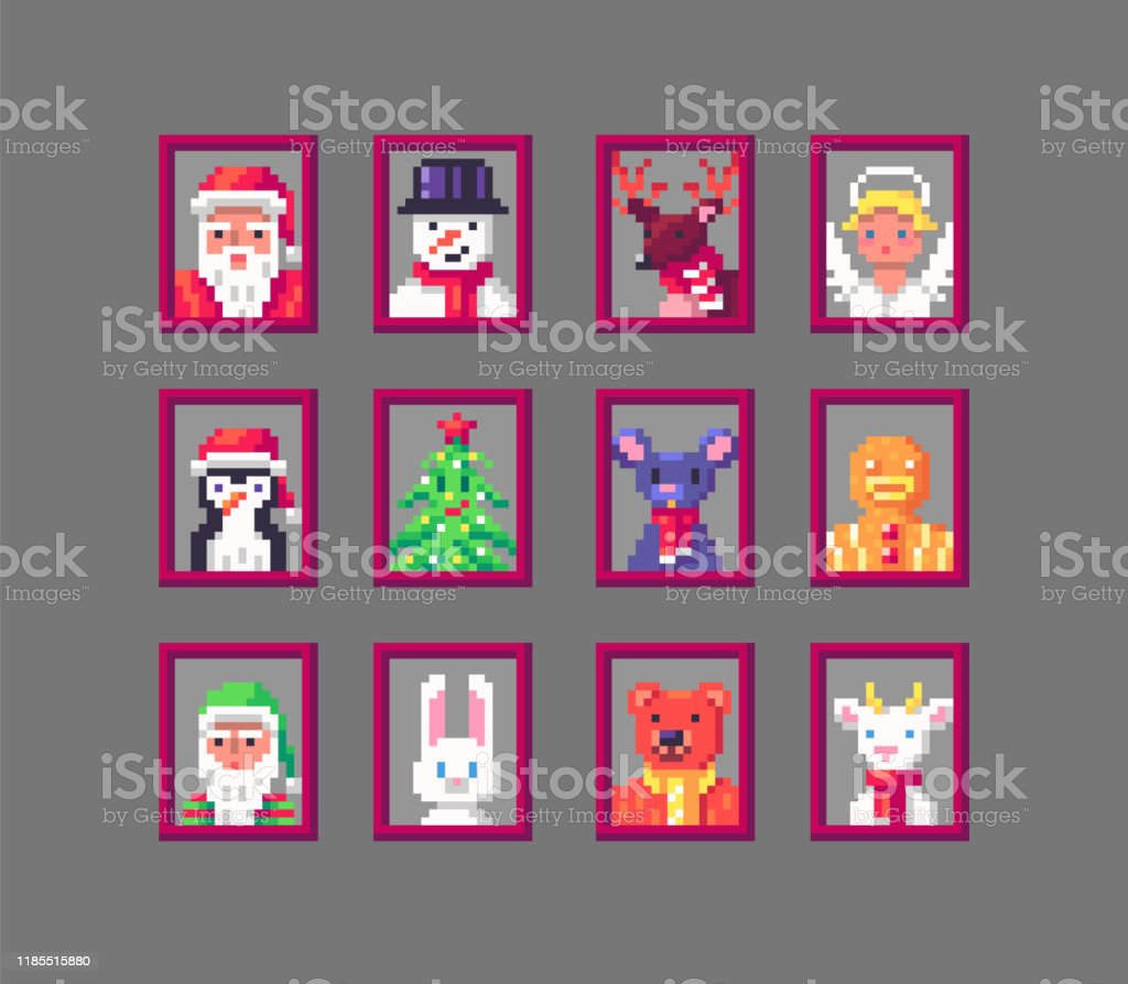 Pixel Art Animals Avatars On Christmas Stock Illustration Download Image Now Istock