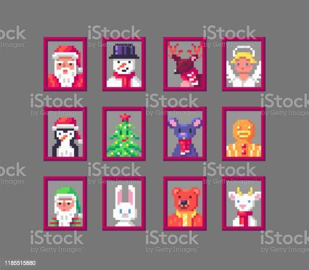 Pixel Art Santa Portrait Telecharger Vectoriel Gratuit