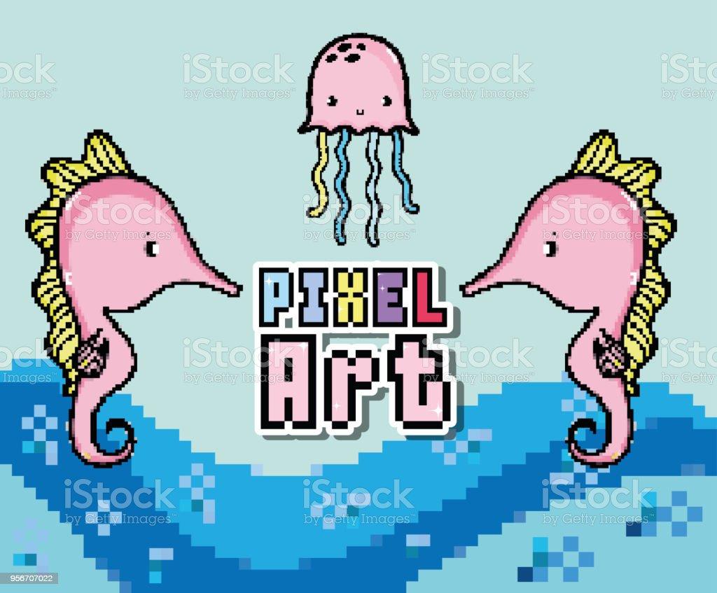 Pixel Art Aquatic World Cartoons