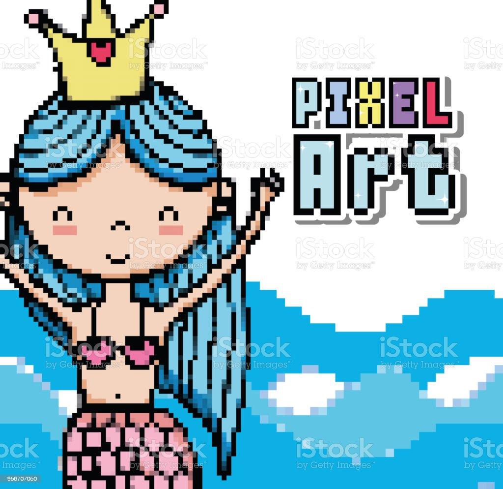 Pixel Art Aquatic World Cartoons Royalty Free Stock Vector