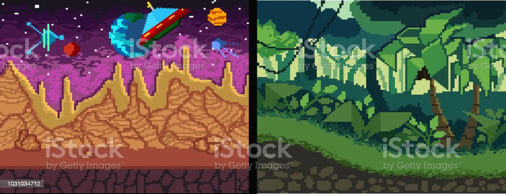 pixel art backgrounds set pixel jungle and space theme for games