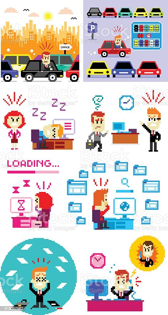 Pixel Art Bad Day to Work vector art illustration