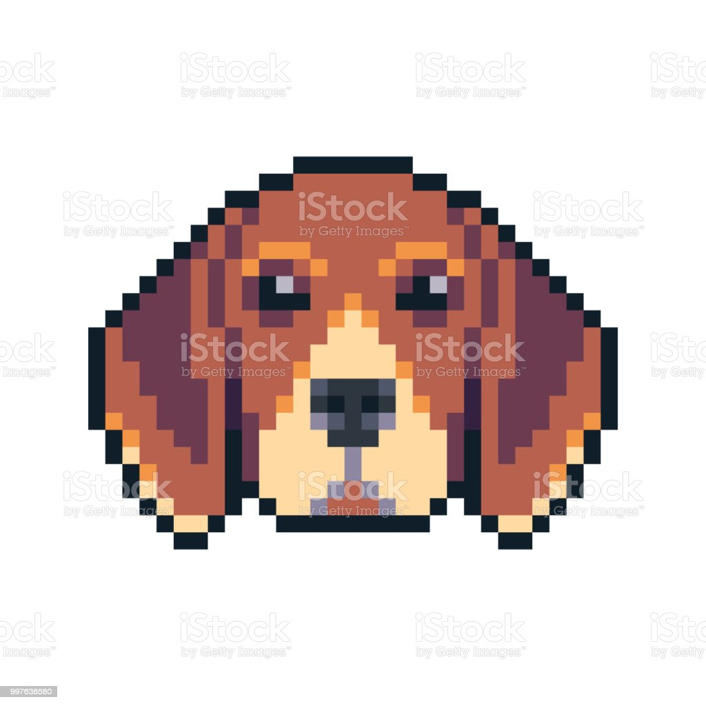 Pixel Art Beagle Dog Face Vector Icon Stock Illustration