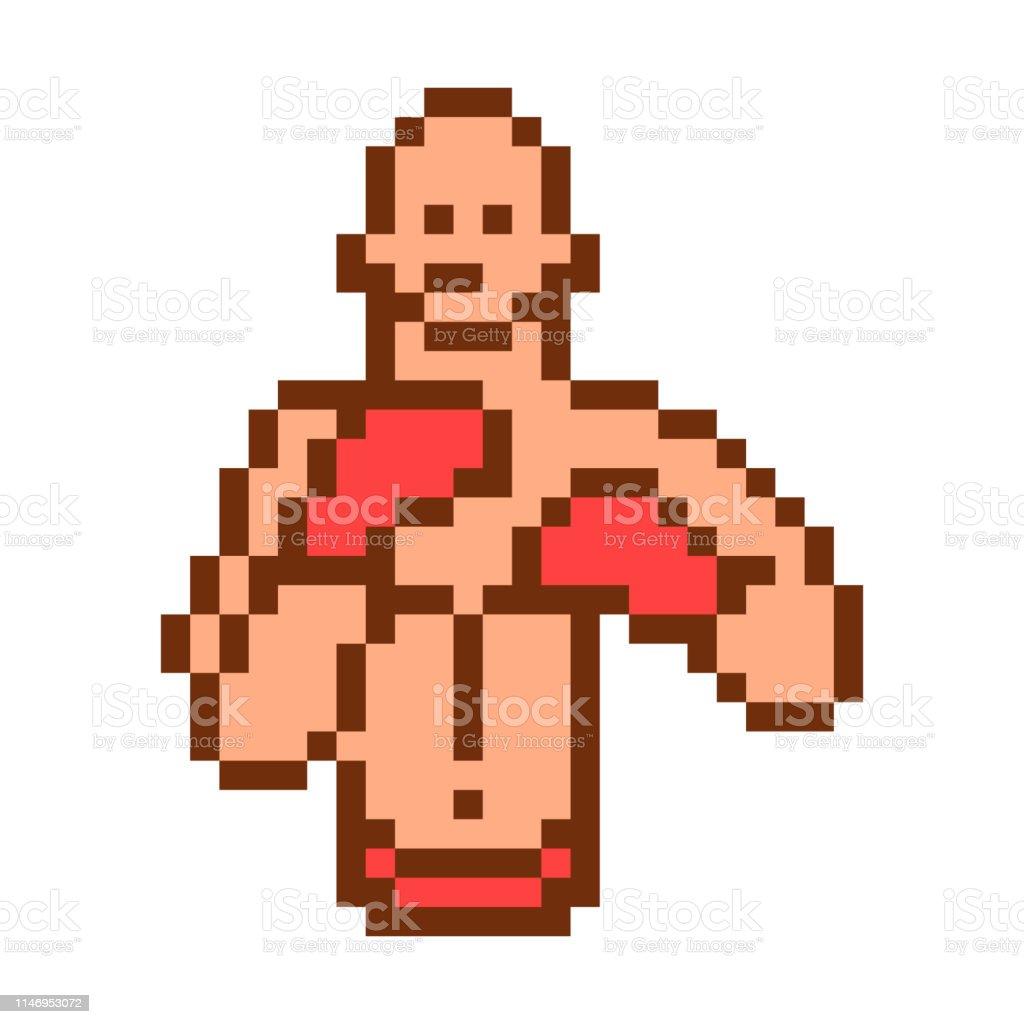 Pixel Art Boxer Personnage Isolé Sur Fond Blanc Un Dur Un