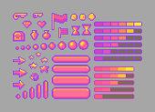Pixel art bright icons. Vector assets for web or game design. Decorative GUI elements. Bubble gum color theme.