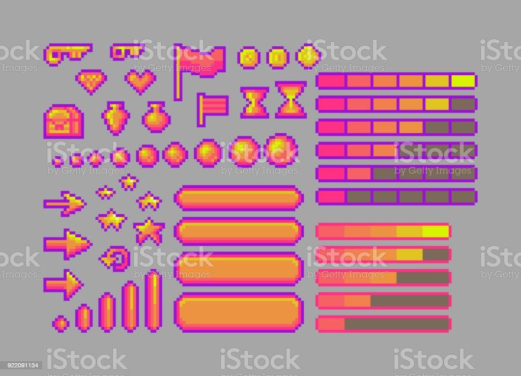 Pixel Art Helle Symbole Stock Vektor Art und mehr Bilder von 16 ...