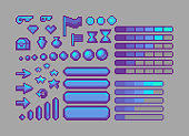 Pixel art bright icons. Vector assets for web or game design. Decorative GUI elements. Metallic color theme.