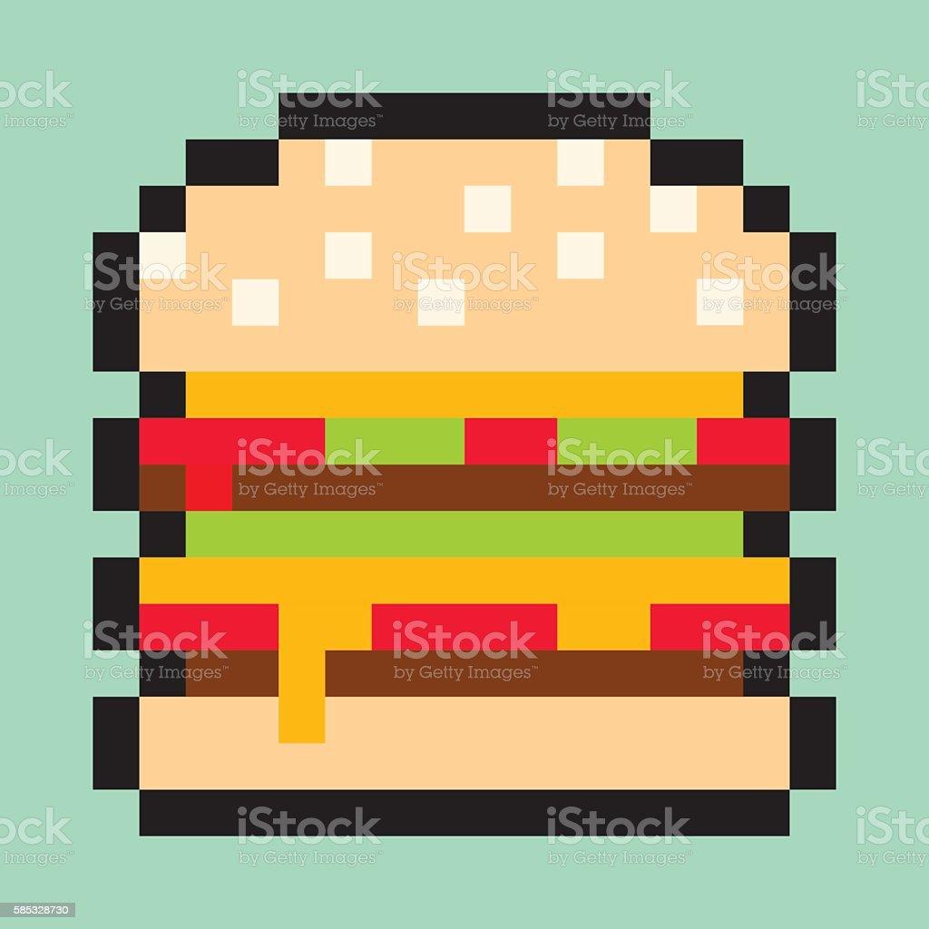 Pixel Art Burger Flat Fast Food Vector Design Object