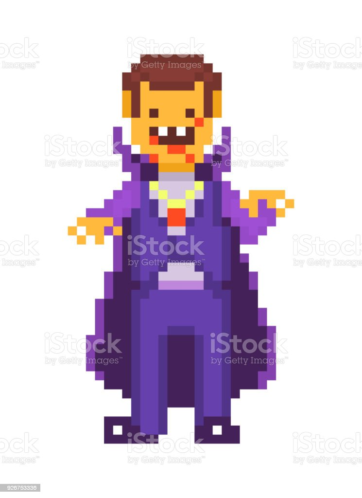 Pixel Art Character Scary Cruel Vampire Isolated On White