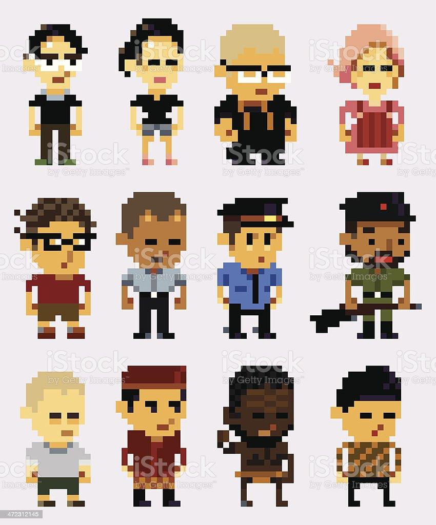 pixel art character vector art illustration