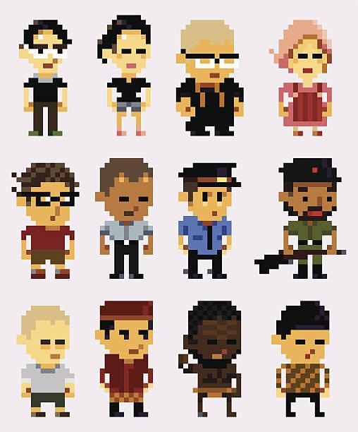 pixel-charakter - rankgitter stock-grafiken, -clipart, -cartoons und -symbole