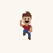 Pixel art happy jumping male character