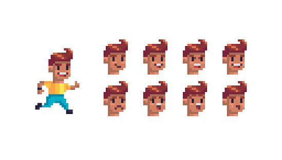 Pixel art character with different emotions.