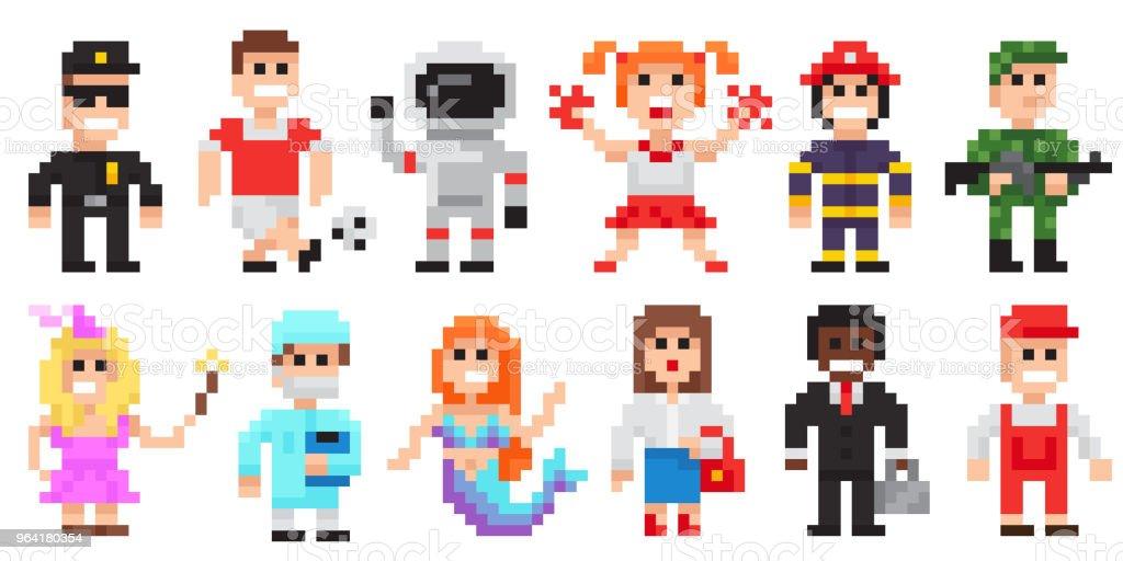 Ilustración de Pixel Arte Conjunto De Personajes Profesiones Pixel ...