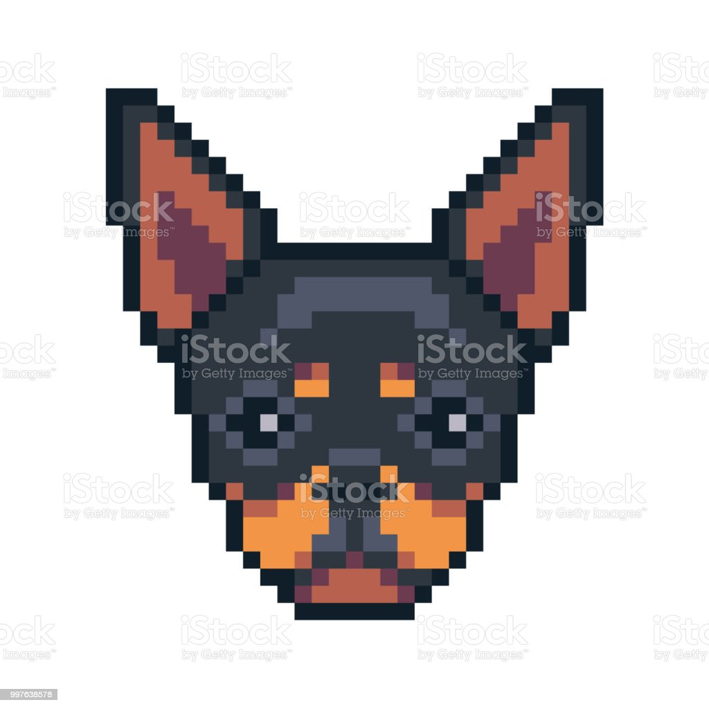Pixel Art Chihuahua Dog Face Vector Icon Stock Illustration