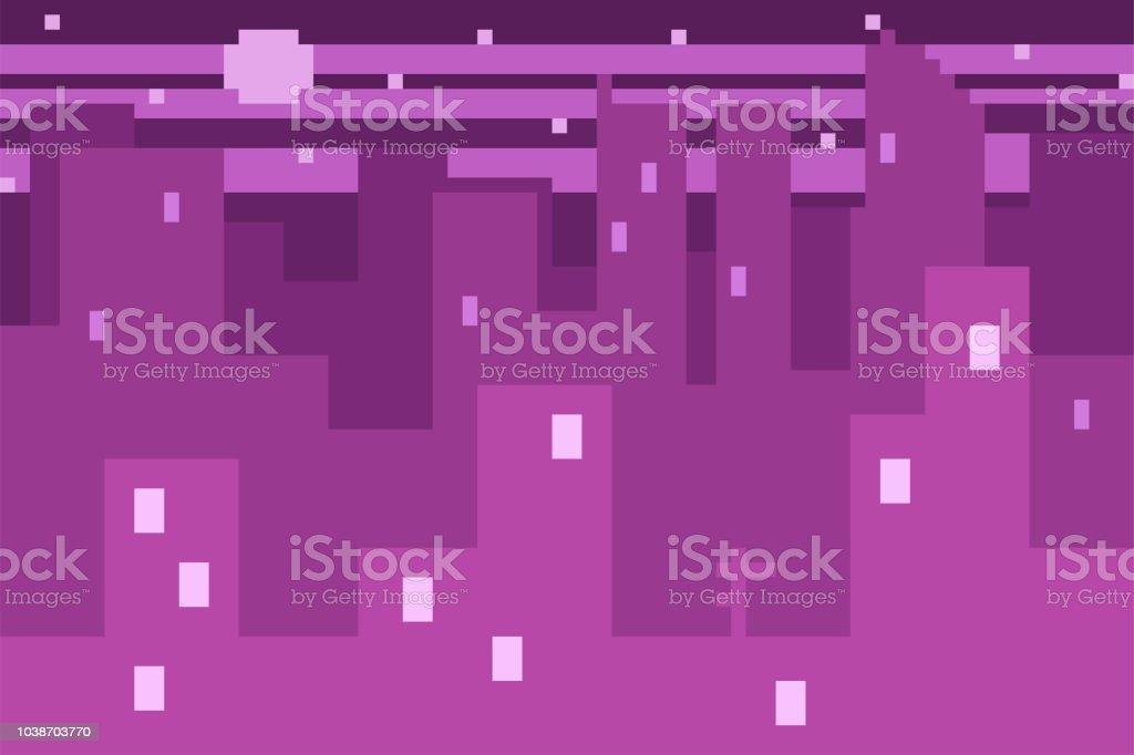 ピクセル アートの都市景観とスカイライン。8 ビット ゲーム web のベクトルの背景。 ベクターアートイラスト