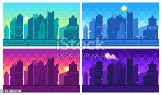 Pixel art cityscape. Town street 8 bit city landscape, night and daytime urban arcade game location. Pixels building or pixelated game architecture dark scene isolated set