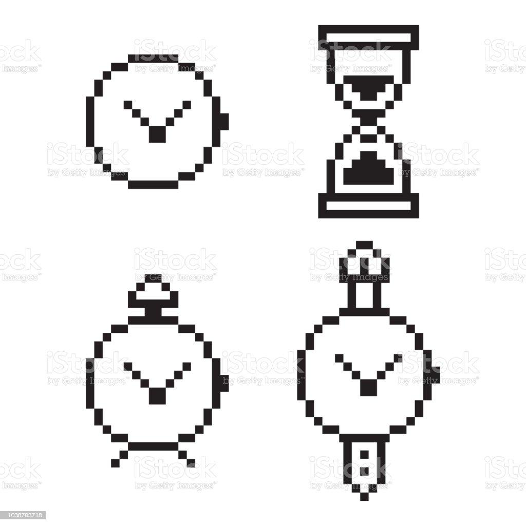 ピクセル ・ クロック、アラーム、ストップウォッチ、砂時計。8 ビット ゲーム web のアイコンをベクトルに分離の白い背景を設定します。 ベクターアートイラスト