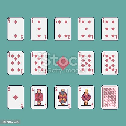 istock Pixel art clubs playing cards vector set. 997807390
