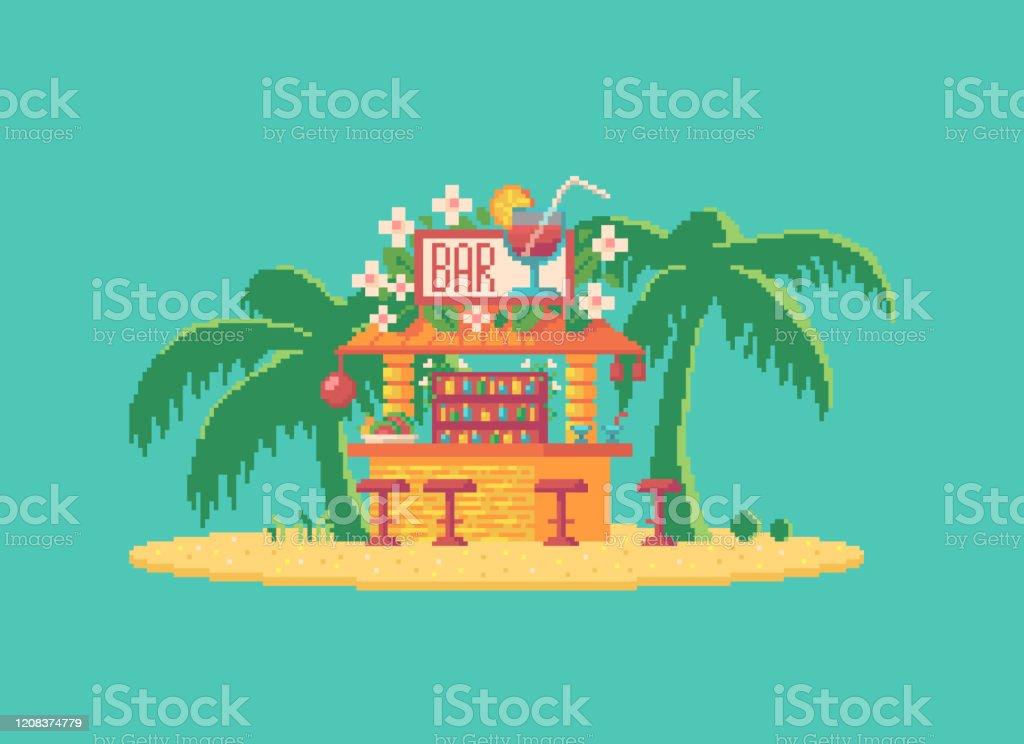 Ilustracion De Bar De Cocteles Pixel Art Restaurante De Hawai En La Playa Y Mas Vectores Libres De Derechos De Arquitectura Istock