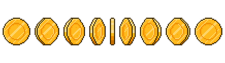 Pixel art coin animation. Game ui golden coins rotation stages, pixel game money animated frames vector illustration. Gold 8 bit coins animation